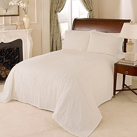 Channel Chenille Bedspread In Ivory Bed Bath Amp Beyond