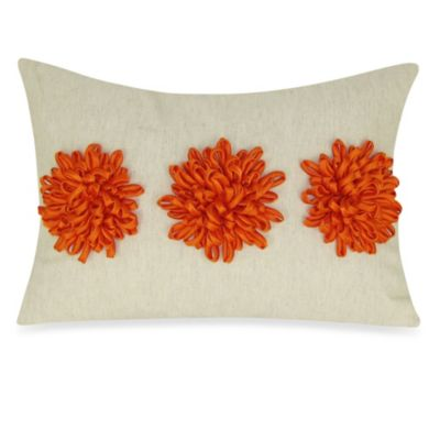 Satin Tape Dahlia Oblong Toss Pillow