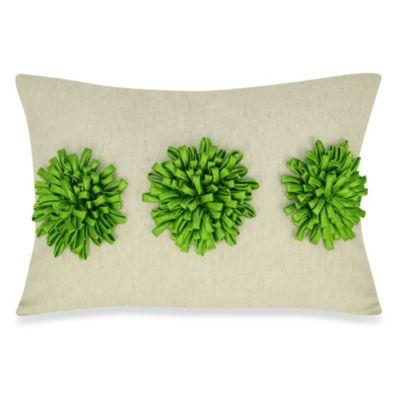Satin Tape Dahlia Oblong Throw Pillow in Green