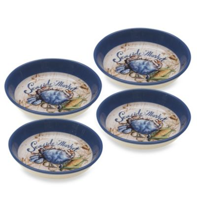 Certified International Coastal Crab 4-Piece Pasta Bowl Set