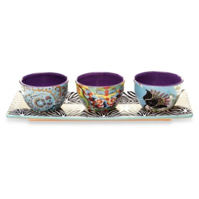 Certified International Tracy Porter 4-Piece Serving Set for Poetic Wanderlust in Rose Boheme