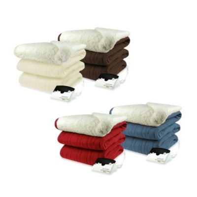 Biddeford Blankets® Comfort Knit Heated Queen Blanket with Sherpa Back in Chocolate