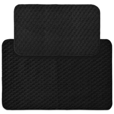 Garland Town Square 2-Piece Rectangle Kitchen Rug Set in Black