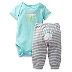 Carter's® 2-Piece Some Bunny Loves Me Bodysuit Pant Set in White/Grey