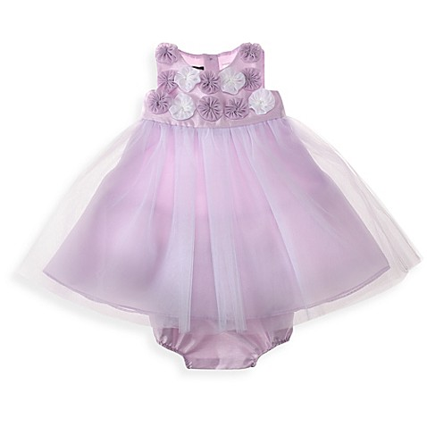 Wendy Bellissimo™ 2-Piece Shantung and Chiffon Flowers Dress Set in Lilac/White