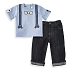 Wendy Bellissimo™ 2-Piece Heathered Faux Suspenders Tee and Denim Pants Set