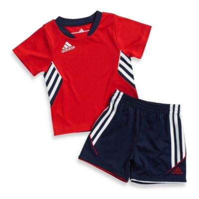 Adidas® Striker Shorts Set in Light Scarlet