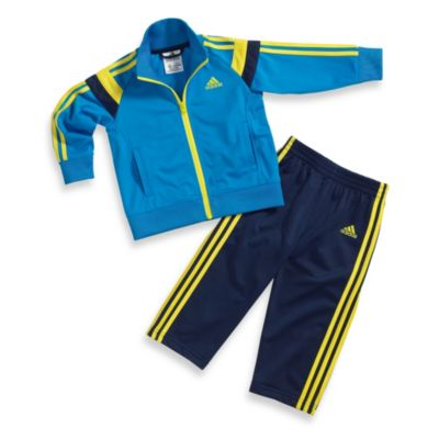 Adidas® Anthem Track Set in Solar Blue/Yellow Stripe