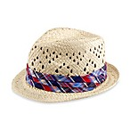 Paper Straw Fedora Hat with Plaid Band