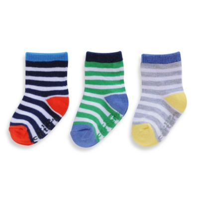 Carter's® Size 2-4T 3-Pack Rugby Striped Socks in Blue/Red/Green/Yellow