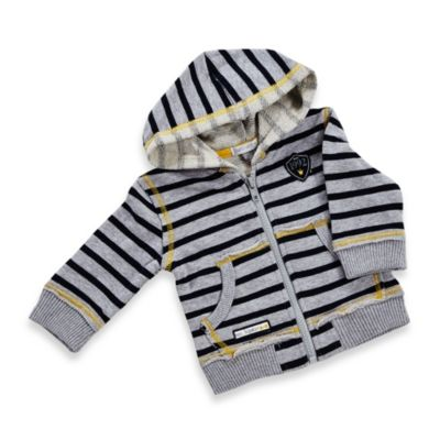 Petit Lem Mr. Hipster Zip-Up Hoodie in Grey/Navy Stripe