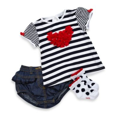 Petit Lem 3-Piece Paris Shirt Set in Navy Blue