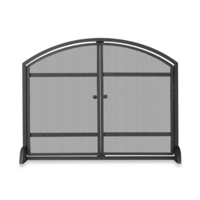 UniFlame® Single-Panel Iron Fireplace Screen in Black