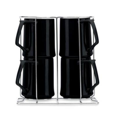 Kobenstyle 13-Ounce Mugs with Rack in Black (Set of 4)