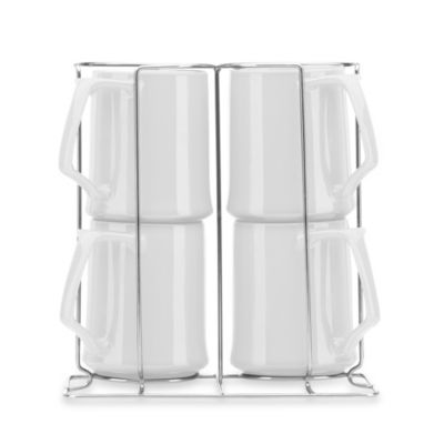 Dansk® Kobenstyle 13-Ounce Mugs with Rack in White (Set of 4)
