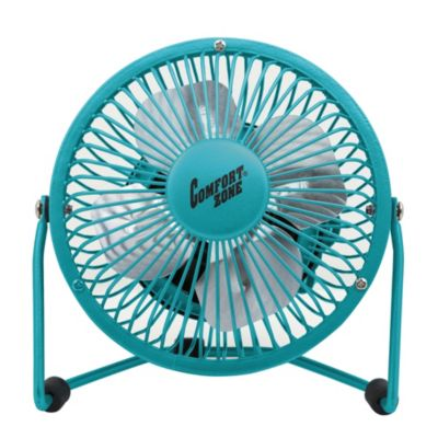 Comfort Zone® 4-Inch Cradle High Velocity Dual Powered Fan in Teal