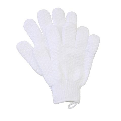 exfoliating bath gloves in white