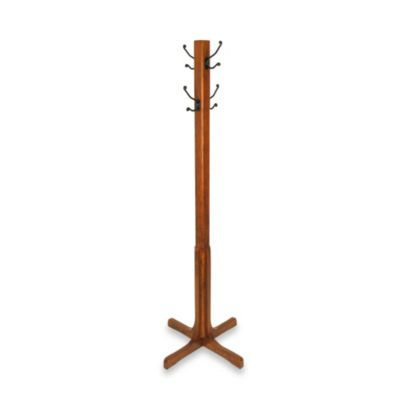 Wooden 70-Inch Coat Stand with 4 Metal Hooks