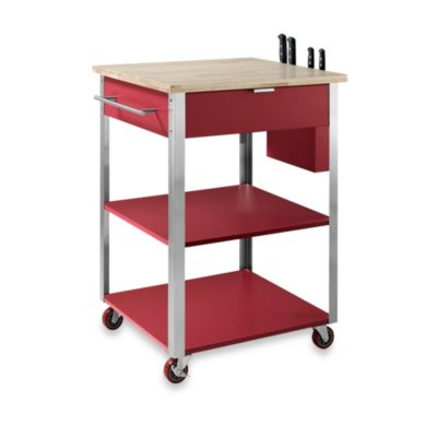 Crosley Culinary Rolling Prep Kitchen Cart in Red