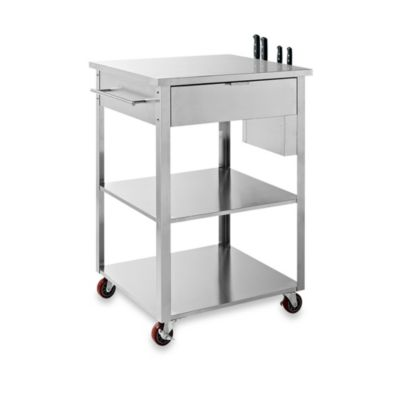 Crosley Culinary Prep Kitchen Cart in Stainless Steel