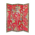 Asian 4-Panel Fabric/Wood Floor Screen