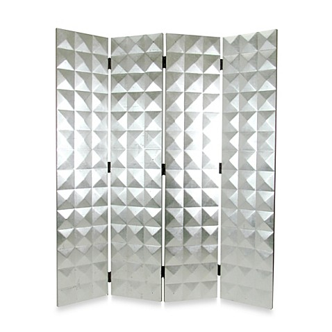 Silver Star 4-Panel Fabric/Wood Floor Screen