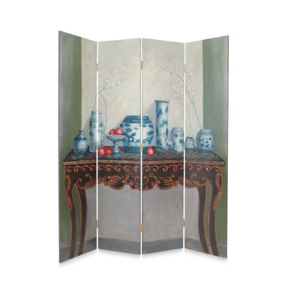 Display of Vase 4-Panel Fabric/Wood Floor Screen