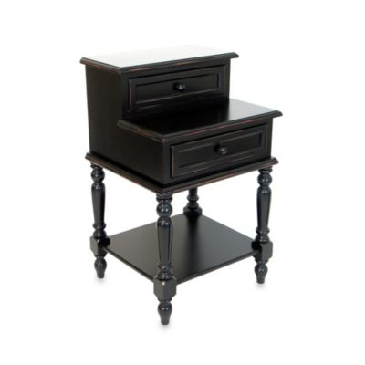 Small Lamp Desk/End Table with Two Drawers in Antique Black