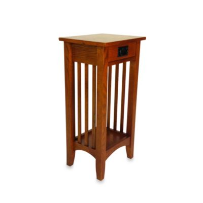 Mission-Style Wood Pedestal Stand/Side Table in Brown