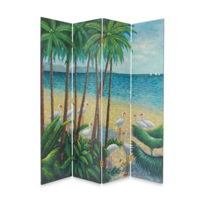 Beach 4-Panel Fabric/Wood Floor Screen