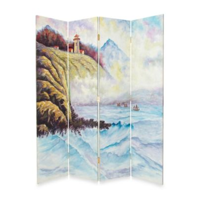 High Seas 4-Panel Fabric/Wood Floor Screen