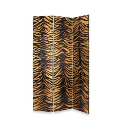 Gold Leaf Zebra 3-Panel Fabric/Wood Floor Screen