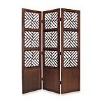 Lattice 3-Panel Wood Floor Screen