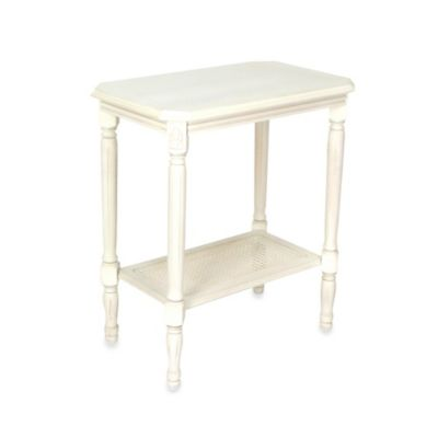 Wooden Side Table with Woven Seagrass Shelf in White