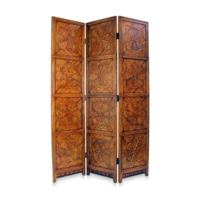 Congo 3-Panel Bamboo/Wood Floor Screen