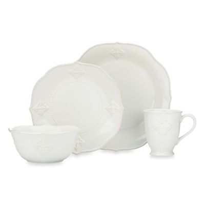 French Perle White 4-Piece Place Setting