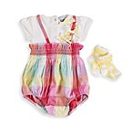 Petit Lem™ Bubble Romper in Pastel Plaid with Socks