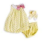Petit Lem Polka Dot Print Bubble Dress with Diaper Cover and Socks