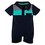 Beetle & Thread Navy Romper with Teal Color Blocking