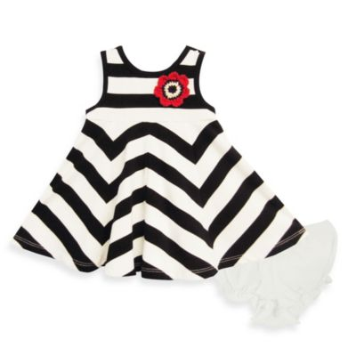 Pippa & Julie Striped Dress in Black and White