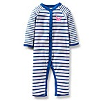 Carter's® Pink Crab 1-Piece Coverall in Navy Stripe