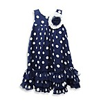Pippa & Julie Polka Dot Dress in Navy Blue