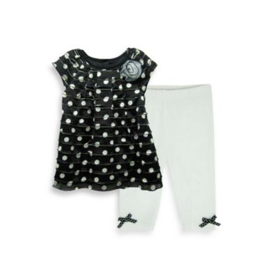 Pippa & Julie® 2-Piece Tunic and Legging Set in Black/White Polka Dot