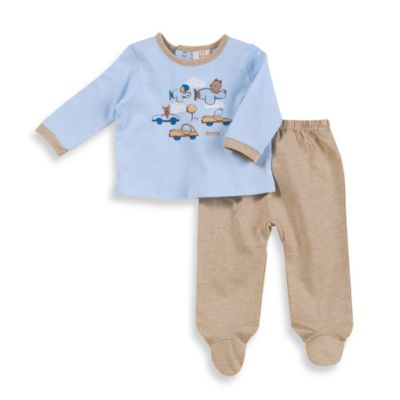 Absorba Bear and Cars Footed Pant Set