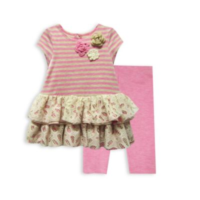 Pippa & Julie® 2-Piece Pink Stripe and Tiered Lace Legging Set