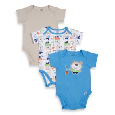 Lamaze® 3-Pack Bear Theme Short-Sleeve Bodysuits