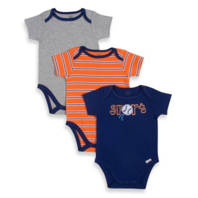 Lamaze® Sport 3-Pack Cotton Bodysuits in Assorted Colors/Prints
