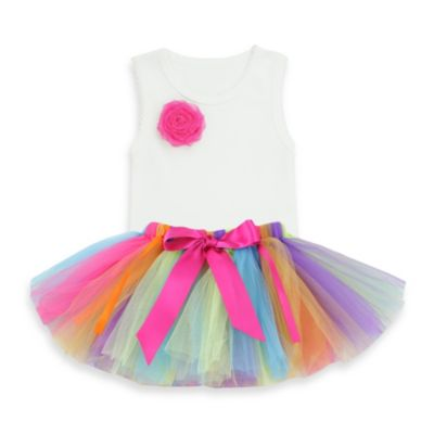 Ruffly Rumps by RuffleButts™ 2-Piece Rainbow Tutu & Bodysuit Set