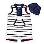 Wendy Bellissimo™ 2-Piece Double Breasted Romper Set in Navy/White Stripes