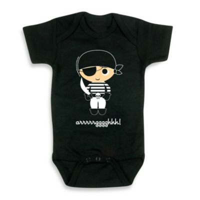 Flavorkids by Paperflavor Black Pirate Size 0-3 Months Bodysuit